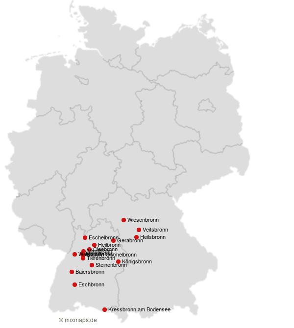 Deutschland Karte Autobahnen Und Städte.Städte Und Gemeinden Die Auf Bronn Enden Orte Auf Der